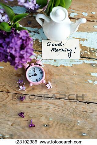 Stock Bilder - zwei töne, lila, blumen, mit, guten morgen ...