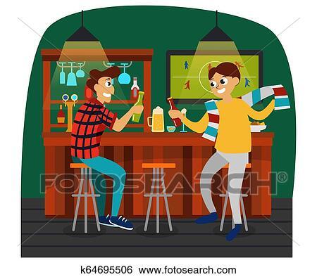 Cartoon Best Friends Watching Football Game In Bar Clip Art K64695506 Fotosearch