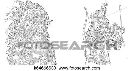 Native American - Coloring Pages for Adults | 241x450