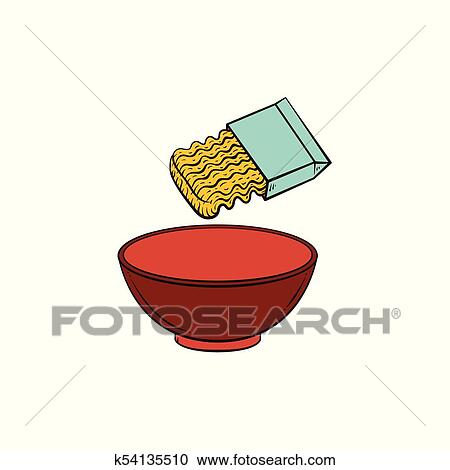cooking pasta instant noodle and empty bowl clipart k54135510 fotosearch fotosearch