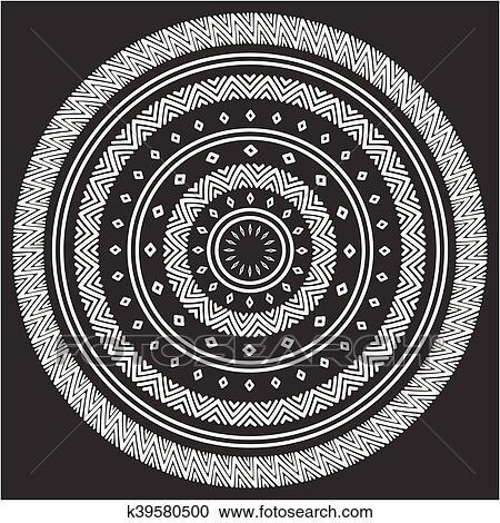Clipart Ethnique Mandala Tribal Main Dessine Ligne