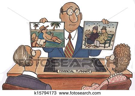 drawing of financial planner retirement k15794173 search clipart