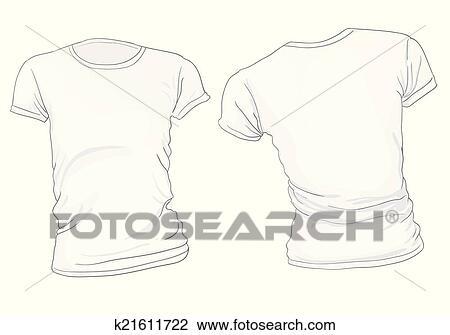 Clipart - frauen, weißes t-shirt, schablone k21611722 - Suche Clip ...