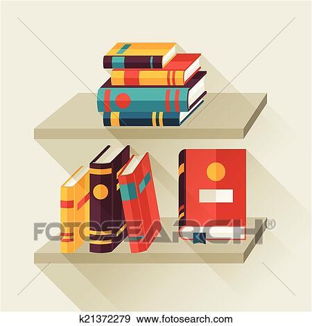Clip art scheda con libri su scaffali in for Mobilia dizionario