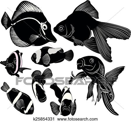 Clipart Of Marine Aquarium Fish K25854331 Search Clip Art