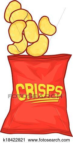 clipart of potato chips bag k18422821 search clip art rh fotosearch com sweet potato chips clipart sweet potato chips clipart