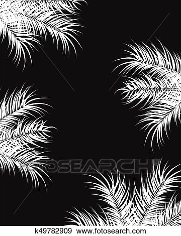 Tropical Design With White Palm Leaves And Plants On Dark Background Clip Art K49782909 Fotosearch Choose from over a million free vectors, clipart graphics, vector art images, design templates, and illustrations created by artists worldwide! tropical design with white palm leaves
