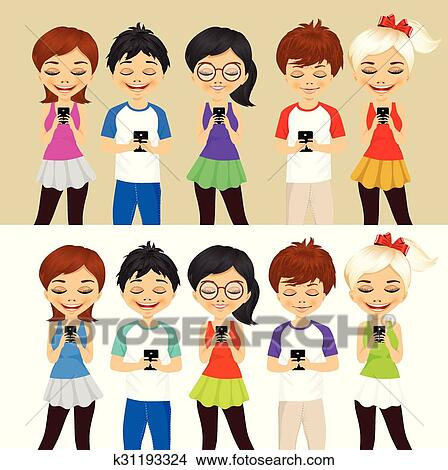 clipart of young people using mobile phones k31193324 search clip rh fotosearch com Young People Meeting Young Person Clip Art
