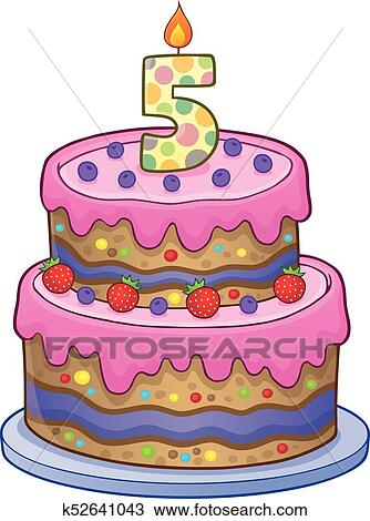 Clipart Of Birthday Cake Image For 5 Years Old K52641043