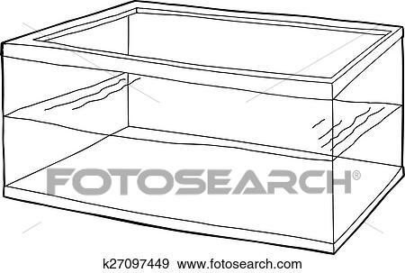 Clip Art Contorneado Medio Lleno Estanque De Pez K27097449 - Estanque-rectangular