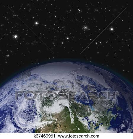 Clipart of creative abstract global communication scientific concept creative abstract global communication scientific concept space view of earth planet globe with world map in solar system of universe gumiabroncs Choice Image
