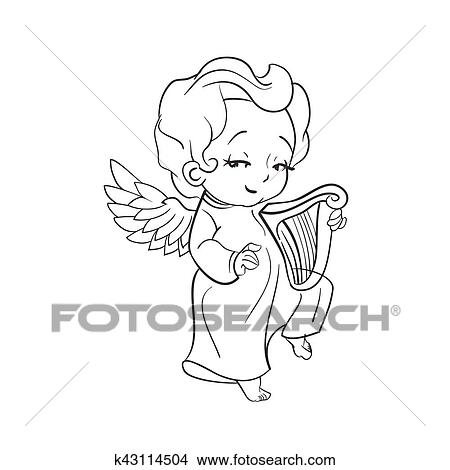 Clipart Of Cute Baby Angel Making Music Playing Harp K43114504