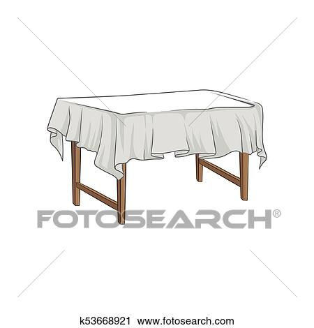 Empty Square Wooden Table With Tablecloth Hand Drawn Vector Ilration Clipart