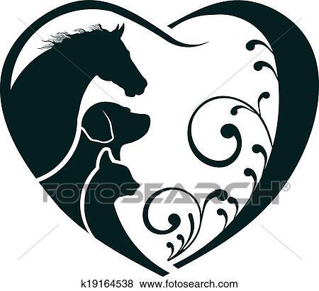 Clipart logo cheval chien et chat aimez coeur k19164538 recherchez des cliparts des - Clipart cheval ...