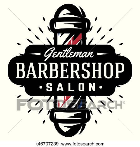 clip art of logo for barbershop with barber pole in vintage style