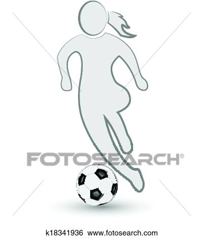 Madchen Und Fussball Ball Symbol Logo Clip Art