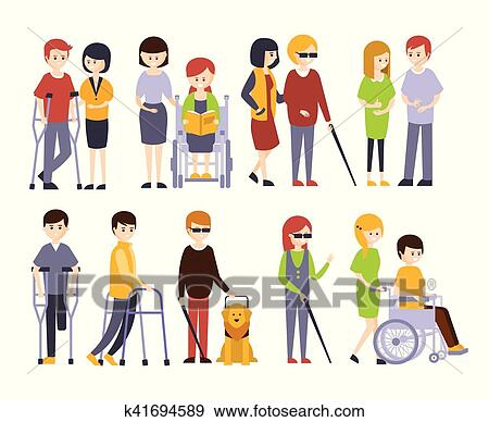clip art of physically handicapped people receiving help and support