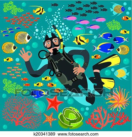 Clipart plongeur sous marin poissons k20341389 recherchez des cliparts des - Dessin plongeur ...