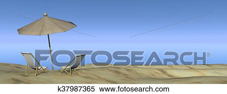 Stock Ilration Relaxing At The Beach Render Fotosearch Search Clipart