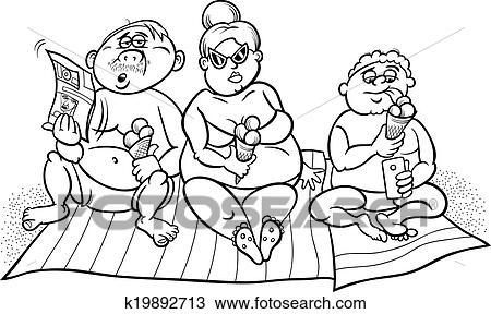 Clipart - sobrepeso, familia en la playa, para, colorido k19892713 ...