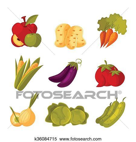 セット の 緑の野菜 農場 庭 原料 イラスト K36084715 Fotosearch
