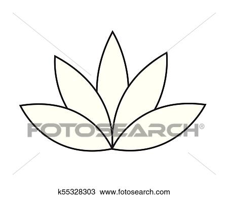 Black outline simple lotus or water lily flower vector icon Clipart