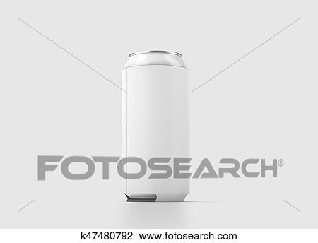 Blank White Collapsible Beer Can Koozie Mock Up Isolated 500 Ml Side View 3d Rendering Empty Neoprene Cooler Holder Mockup Tin Beverage