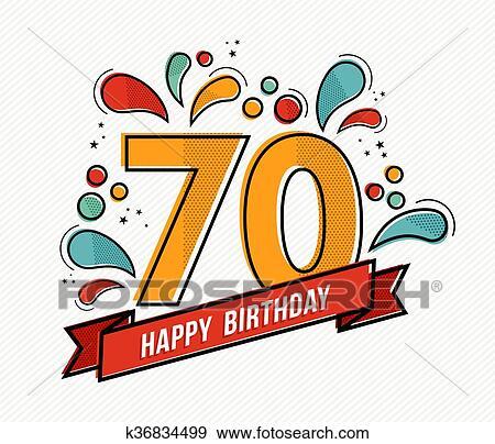 Colorido Feliz Cumpleaños Número 70 Línea Plana Diseño
