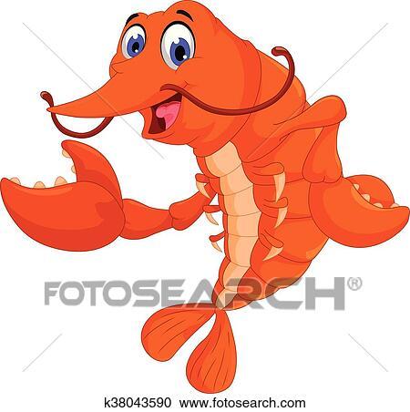clipart of cute shrimp cartoon posing k38043590 search clip art rh fotosearch com shrimp clip art images shrimp clipart images