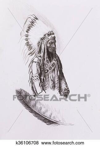 Dessin De Amérindien Indien Contremaître Séance Taureau Totanka Yotanka S Accorder Historique Photographie à Beau Plume Headdress