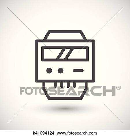 Clipart of Electric meter line icon k41094124 - Search Clip Art ...