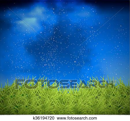 Grass On A Background Of Night Sky Clipart K36194720 Fotosearch