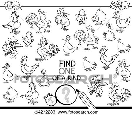 Clipart of one of a kind game with chicken coloring book k54272283 ...