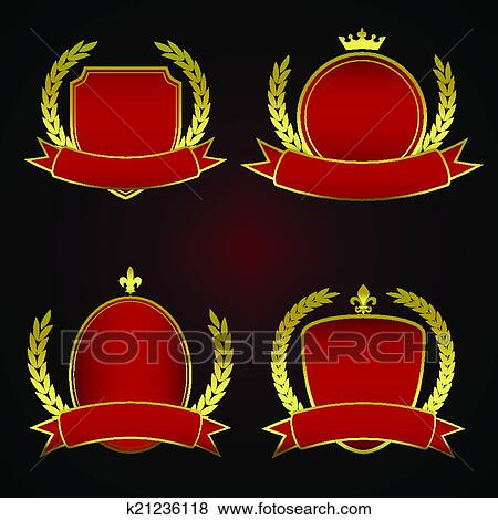 Collection Of Four Emblem Templates In Red And Gold Royal Style With Design Elements Such As Crown Laurel Leaves Or Fleur De Lis Symbols