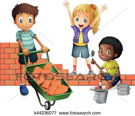 Clip Art Of Three Kids Building Brick Wall K44236077