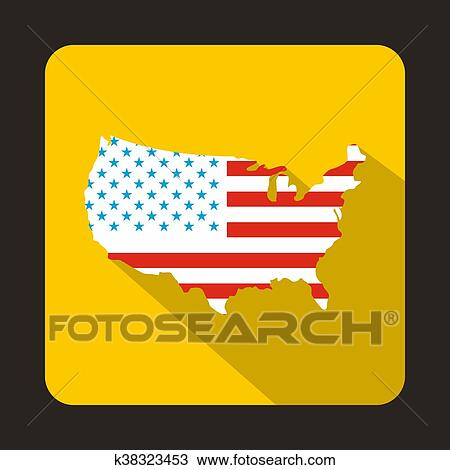Drawing Of Usa Map Icon Flat Style K38323453 Search Clipart