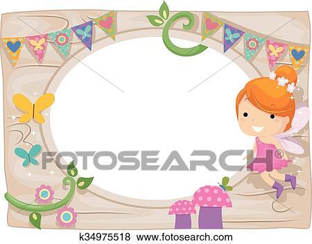 Clip Art of Whimsical Kid Girl Fairy Wood Board Frame k34975518 ...
