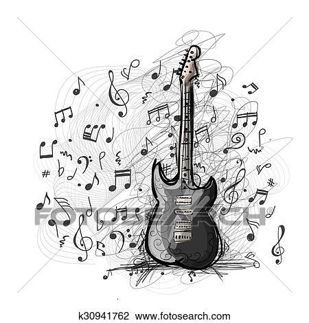 Arte Esboco De Guitarra Desenho Clipart K30941762 Fotosearch