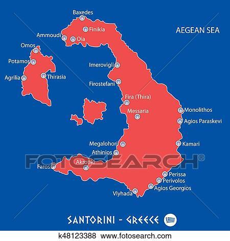 Island of santorini in greece red map illustration Clip Art