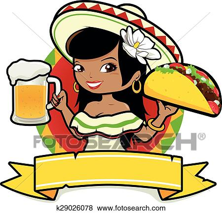 clip art of mexican woman with beer and taco k29026078 search rh fotosearch com mexican food clip art borders mexican food clipart free