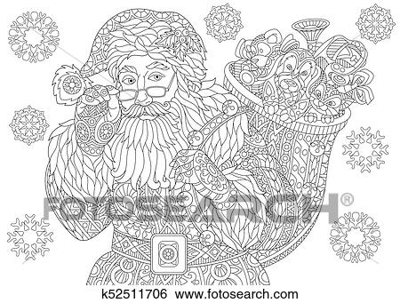 coloring page of santa claus with holiday gifts christmas vintage snowflakes freehand sketch drawing for happy new year greeting card or adult coloring