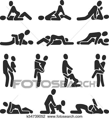 clipart of sexual position vector icons positioning between man and