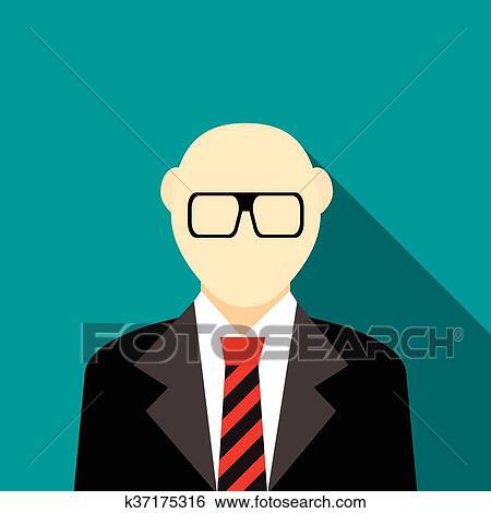 Uomo calvo con uno barba e occhiali in completo icona clip
