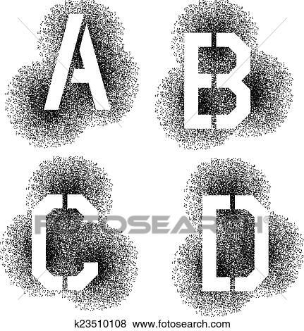 Vector stencil angular spray font letters A B C D Clip Art