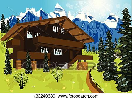 Clipart bois chalet dans montagne alpes rural - Dessin de chalet de montagne ...