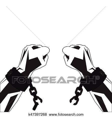 Clip Art Of Hands And Shackles K47397268