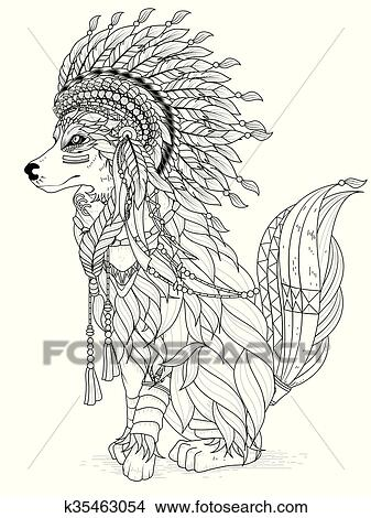 Lovely wolf coloring page Clipart