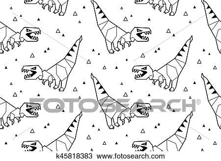 Clipart - origami, patrón, plano de fondo, con, dinosaurios ...