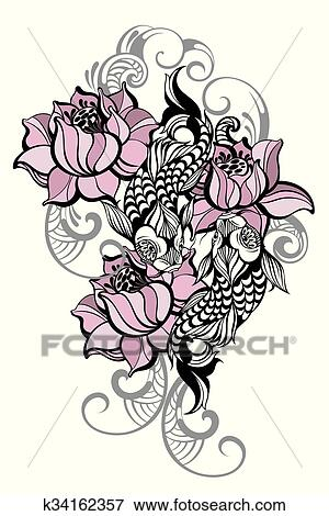 Spirituel Fish Art Pour Tatouage Clipart K34162357 Fotosearch