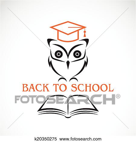 Vector image of an owl with college hat and book Clipart ...
